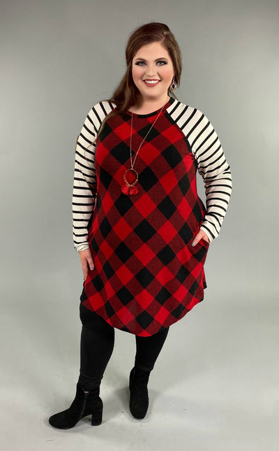 CP-B {Comfort Is Key} Red Buffalo Plaid Dress with Striped Sleeves