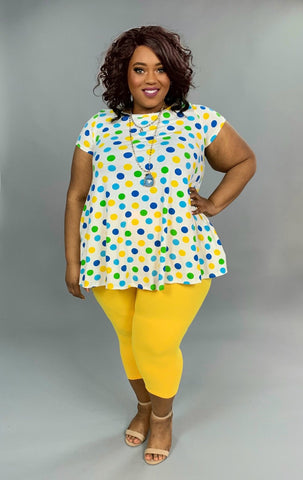PSS-A {Gee Whiz} Polka-Dot Short Sleeve Tunic with Pockets