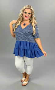 CP-X {Life In Layers}  SALE!! Blue/Grey Stripe Tunic W/Blue Ruffle Hem PLUS SIZE 1X 2X 3X SALE!!