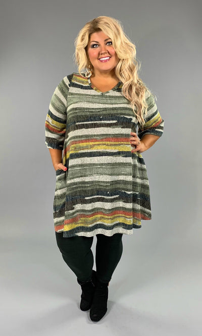 PQ-G Slate/Olive V-Neck Striped Knit With Pockets SALE!!  WINTER