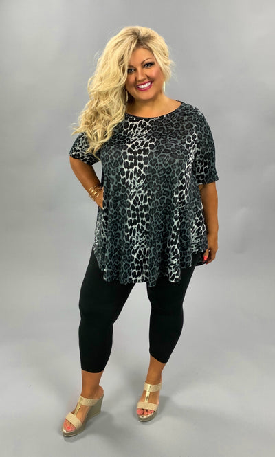 PSS-O {Fate Intervened} Black Grey Animal Print Tunic EXTENDED PLUS SIZE 3X 4X 5X