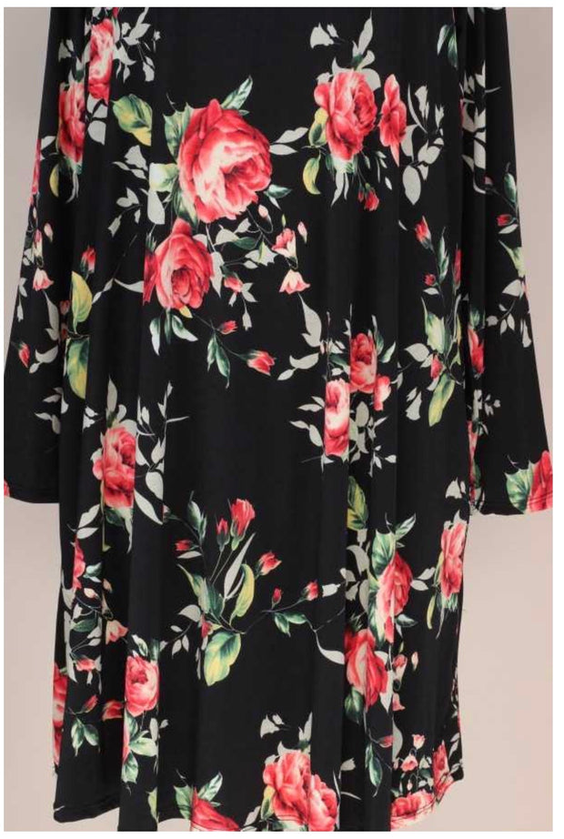 PLS-B {World Of Roses} Black Rose Printed Long Sleeve Dress EXTENDED PLUS SIZE 3X 4X 5X