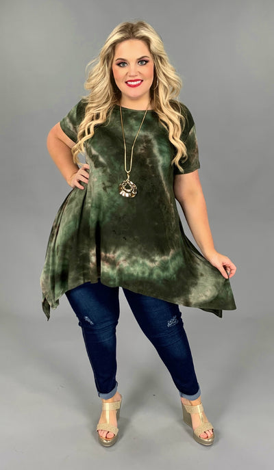 PSS-D {Seaweed} Green/Brown Tie-Dye Tunic PLUS SIZE 1X 2X 3X SALE!!