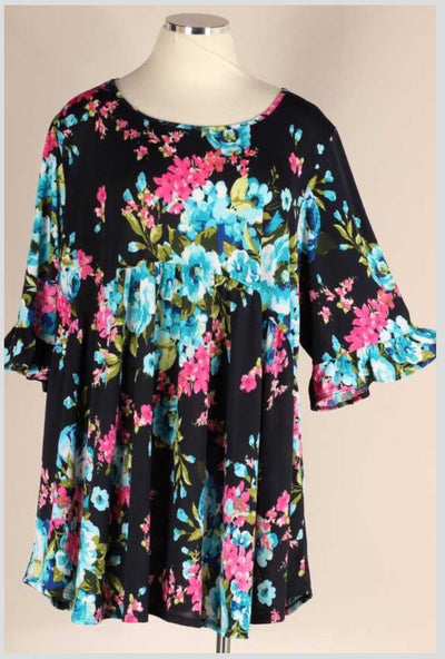 52 PQ-F (Happy Flowers) Navy Floral Babydoll Ruffle Sleeve Tunic 4X5X6X Extended Plus Size