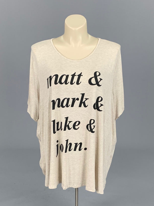 GT-K {Matt, Mark, Luke, John} Oatmeal Graphic Tee EXTENDED PLUS SIZE 3X 4X 5X 6X