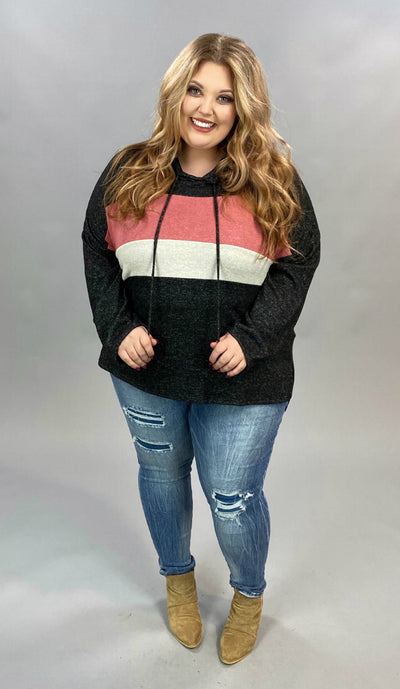 12 HD-B {Everything Classic} Black Rose Contrast Hoodie PLUS SIZE XL 2X 3X