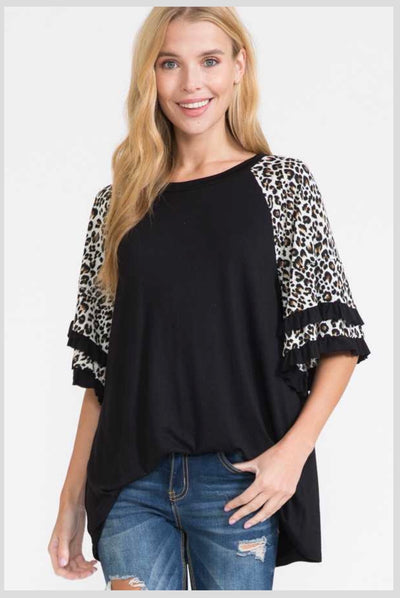 65 CP-U {Getting Closer} Black Tunic w Leopard Ruffle PLUS SIZE 1X 2X 3X