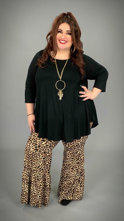 BT-N {Urban Jungle} Leopard Print Bell-Bottom Pants Extended PLUS SIZE