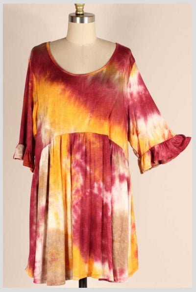 PQ-Q {Falling In Love} Burgundy & Mustard Tie Dye Babydoll Dress EXTENDED PLUS SIZE 4X 5X 6X