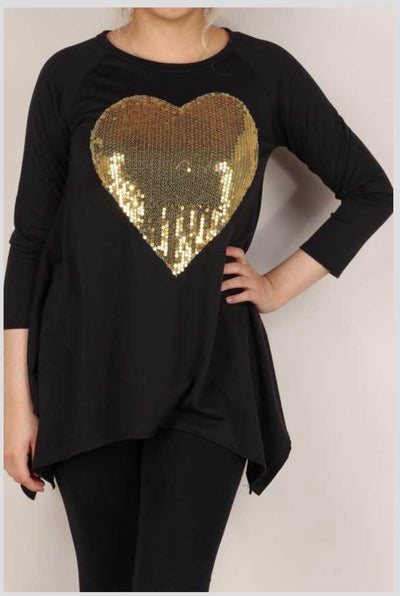 45-GT-B (My Heart is Golden) Black Tunic with Sequin Heart PLUS SIZE 1X 2X 3X