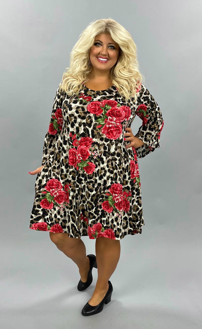 45 PQ-F {Over The Edge} Leopard/Floral Tunic W Bell Sleeves Plus Size 1X 2X 3X