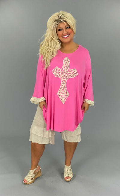 GT-K {Most Loved} Pink 3/4 Sleeve Tunic W/Crochet Cross EXTENDED PLUS SIZE 3X 4X 5X 6X
