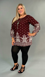 PQ-Q Wine Damask Print Tunic With Bell Sleeves FLASH SALE!!