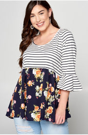 CP-A {Too Many Choices}Navy Floral with Stripes Top PLUS SIZE 1X 2X 3X