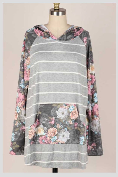 HD-Z {Autumn Lane} Grey Ivory Stripe Floral Sleeve Hooded Top EXTENDED PLUS SIZE 4X 5X 6X