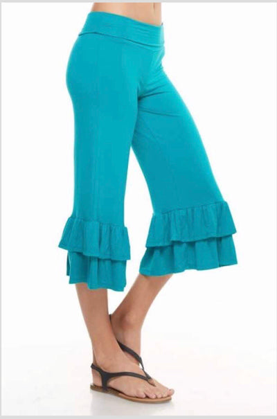 BT-L {Forever Yours} Teal Capri Pants with Ruffle Bottom