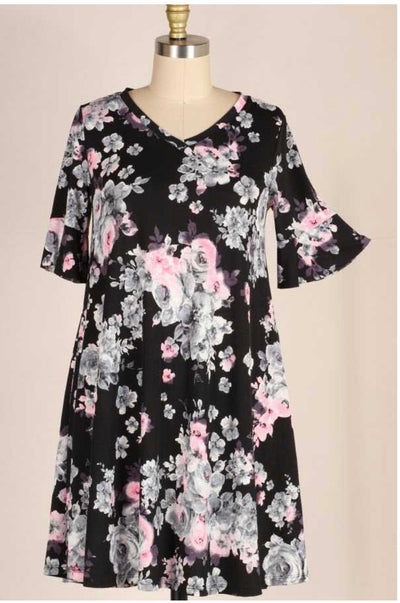 PSS-A {Believe In Me} Black/Pink Floral Dress PLUS SIZE 1X 2X 3X