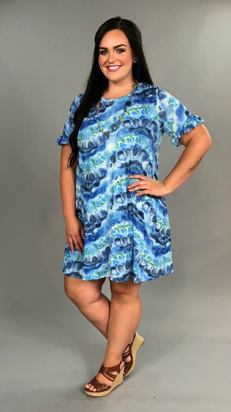 "PSS-J ""Blue Moon Rising"" Gray/Blue Dress with Pockets"