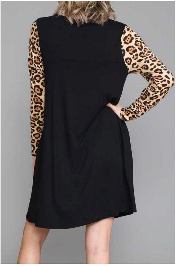 14 CP-X {In The Sahara} Black Leopard Contrast Dress EXTENDED PLUS SIZE 4X 5X 6X