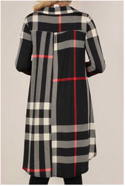 11-14 PLS-A {Don't Talk} Black Red Plaid Hi-Low Tunic PLUS SIZE XL 2X 3X