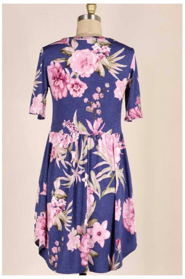 PSS-E {Floral Garden Walk} Navy Dress With Pink Flowers PLUS SIZE 1X 2X 3X