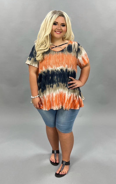 PSS-X {My Best Yet} Navy Orange Tie Dye Cross Neck Tunic BUTTER SOFT PLUS SIZE XL 2X 3X 5X