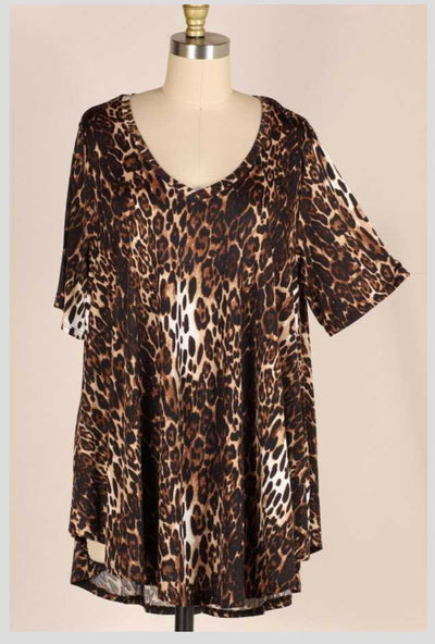 PSS-A {Prowl All Night} Leopard Print Tunic EXTENDED PLUS 3X 4X 5X