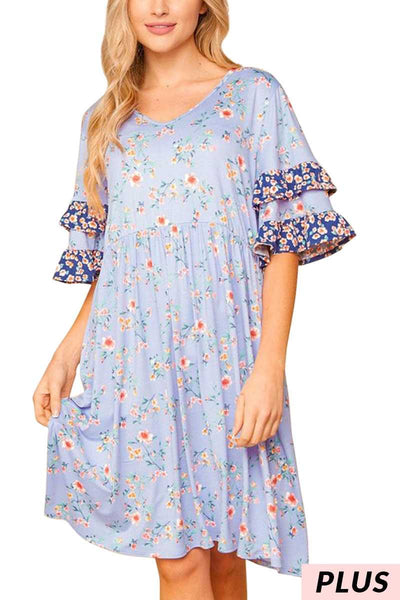 65 PSS-B {Paradise Found}  Blue Floral Print Dress PLUS SIZE 1X 2X 3X