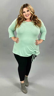 41 SQ-A {Mint Social} Mint Tunic with Ruched Side
