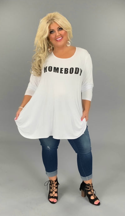 GT-Q {HOMEBODY} SALE!! White Long Sleeved Graphic TeeEXTENDED PLUS SIZE 3X 4X 5X 6X
