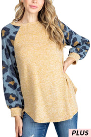 15 CP-G {The Look} Camel Demin Leopard Sleeve Tunic PLUS SIZE XL 2X 3X