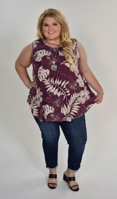 SV-P {Enjoy The Day} Plum/White Floral Print Sleeveless Top Extended Plus