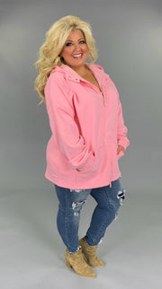 OT-P {Comfy Chic} Pink Hoodie Jacket with Full Zipper  SALE!! PLUS SIZE 1X 2X 3X