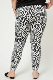 "BT-D {A Little ""Kneedy} Zebra Print Pants With Black Lace Cut-Out PLUS SIZE 1X 2X 3X SALE!!"