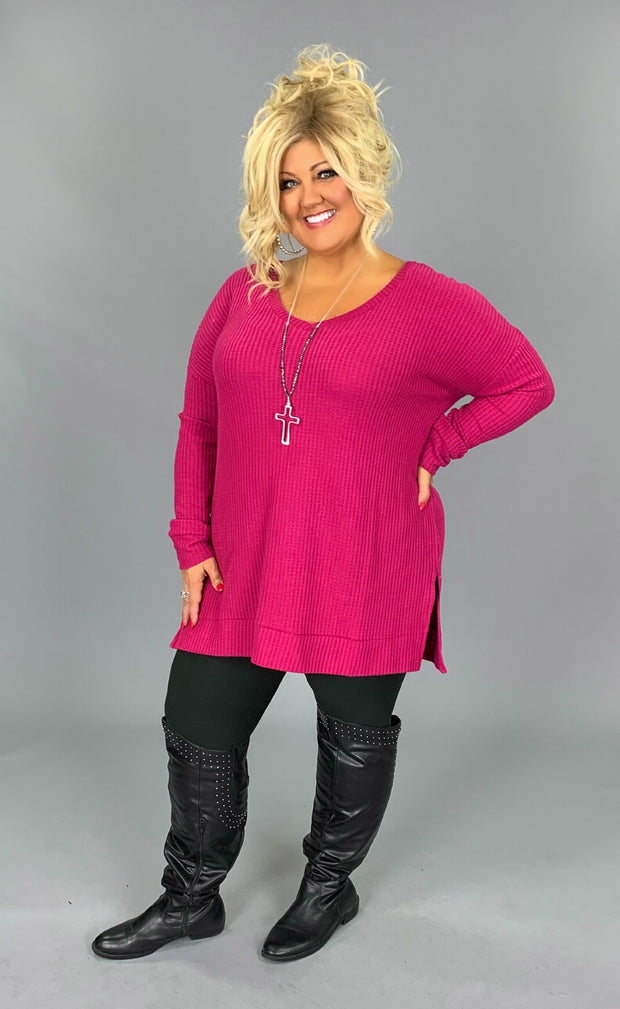 SLS-T {Totally Agree} Magenta Waffle Knit V-Neck Top