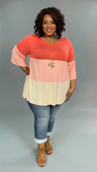 CP-G {Carefree Living} Coral Layered Tunic with Crochet Detail