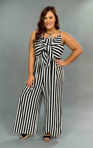 RP-M {Actually Happy} Black Striped Jumpsuit Spaghetti Straps