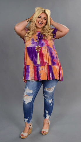 PSS-M {Happy Now} Peach/Purple Tie-Dye Print Tunic or Dress