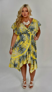 LD-A {Days Of Summer} Yellow Tropical Print Hi-Lo Dress Extended Plus