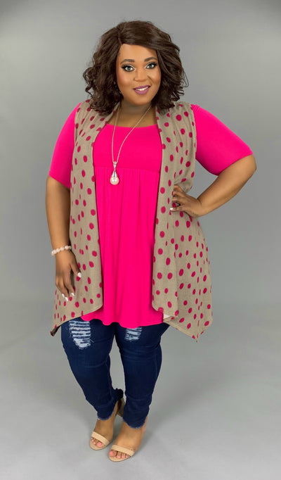OT-G (Happy Trails) Taupe Vest With Pink Polka Dots PLUS SIZE