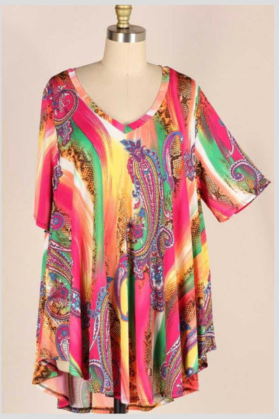 PSS-C {Serpent & The Rainbow} Multi Paisley Tunic EXTENDED PLUS SIZE 3X 4X 5X
