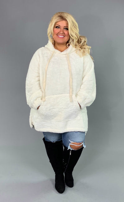 HD-W {The Cozy Touch} IVORY Faux Fur Hoodie SALE!