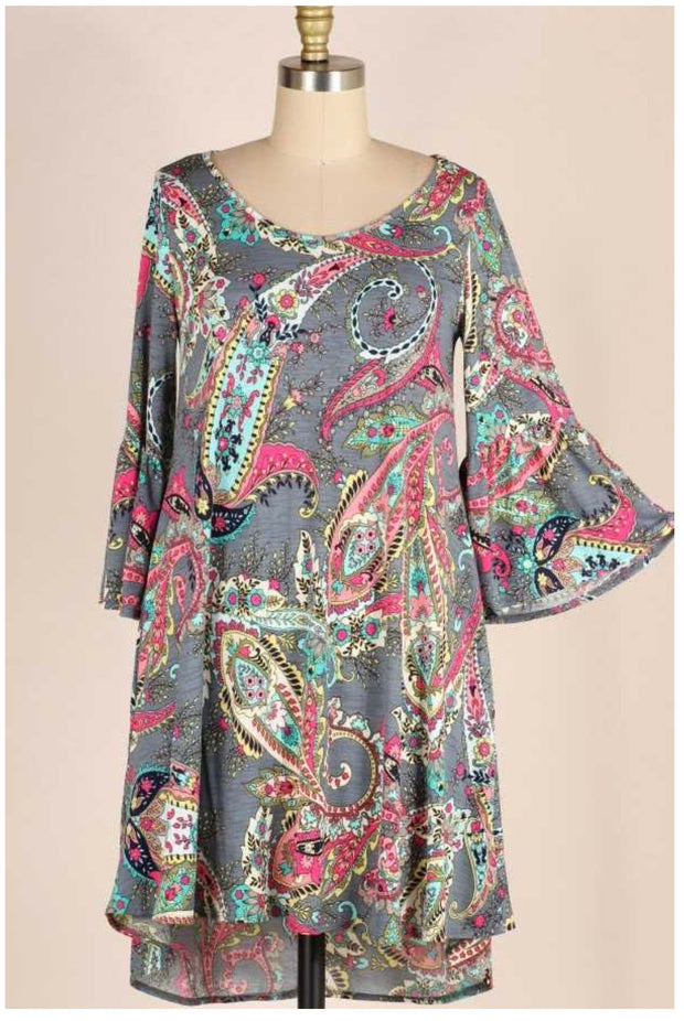 PQ-H {Status Update} Grey Dress W/Multi Paisley Print PLUS SIZE 1X 2X 3X SALE!!