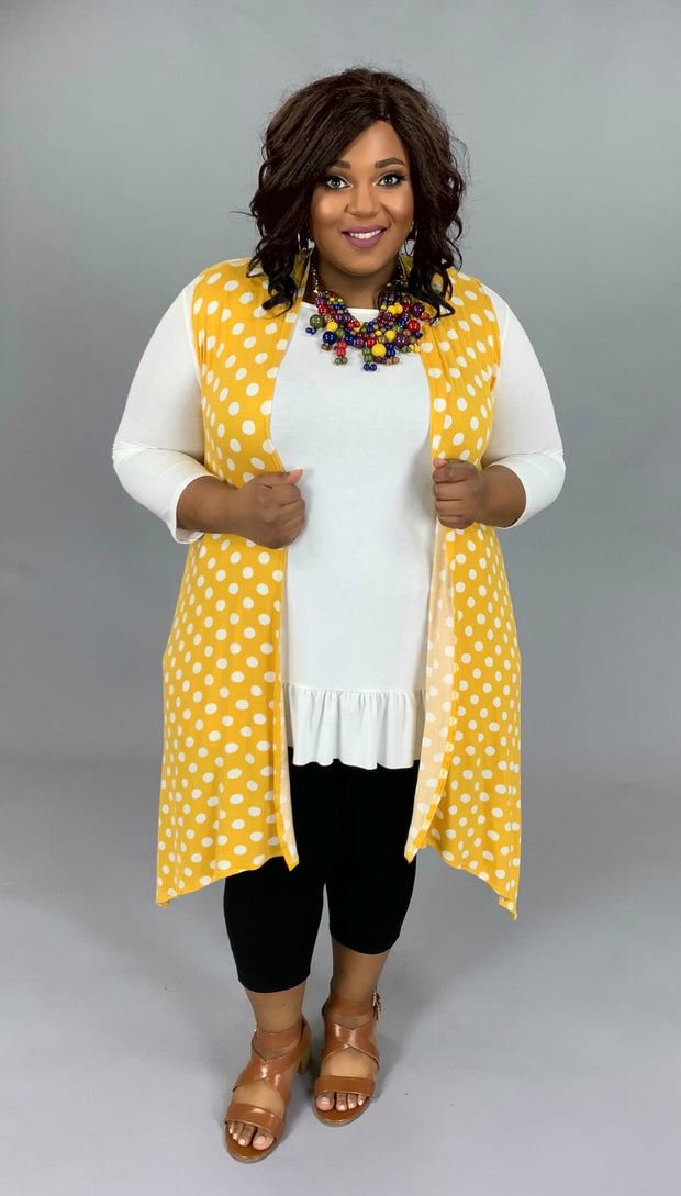 OT-V {Mustard With That?} Polka-Dot Vest PLUS SIZE 1X 2X 3X