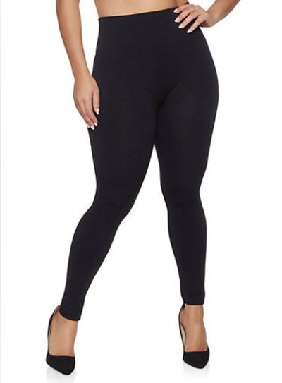 GT/U {Feeling Great} Solid Black Fleece Lined  PLUS SIZE