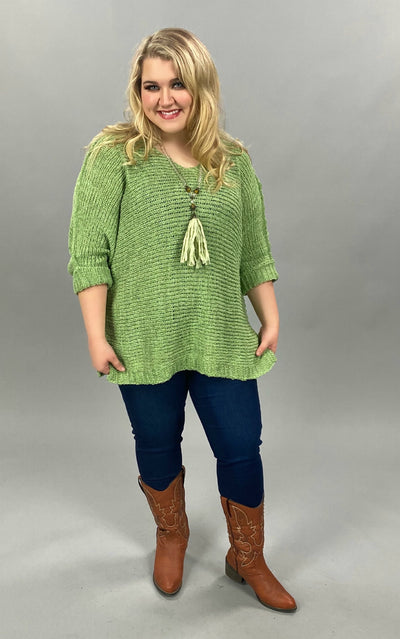 10-23 SQ-H {Easy Days} Green Sparkle Sweater PLUS SIZE XL 2X 3X