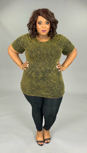 PSS-V {Exotic Wonders} Olive Mineral Wash Cotton/Spandex Top  SALE!!