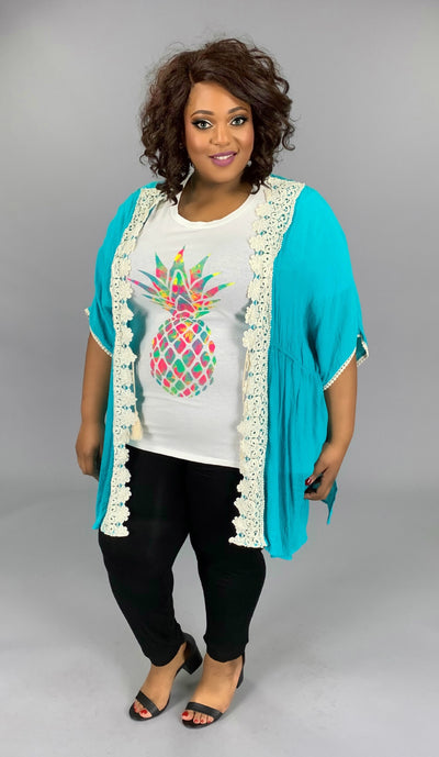 "OT-G {In Fashion} ""UMGEE"" Cardigan with Crochet Lace Detail"