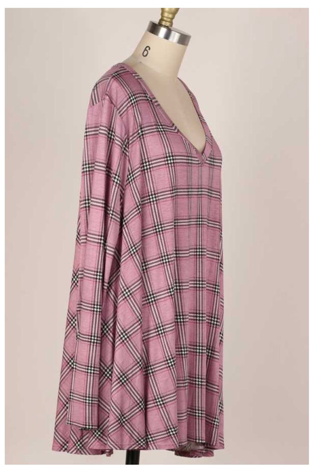 PLS-C {Effortless Attraction} Mauve Black Plaid V-Neck Tunic EXTENDED PLUS SIZE 3X 4X 5X