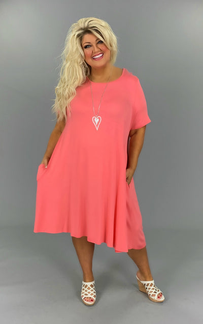 SSS-Z {Set For Style} Coral Dress W/Pockets EXTENDED PLUS SIZE 3X 4X 5X